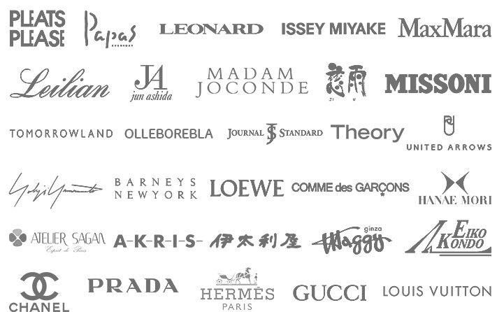 取り扱いブランドはミセス・シニア系ブランドから、ハイブランドまで多数