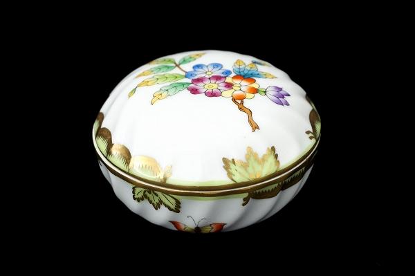 ヘレンド 陶器ヴィクトリアブーケラウンドボックス