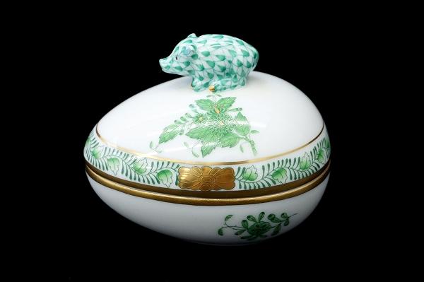 ヘレンド 陶器ポット タマゴ型小物入れ猪