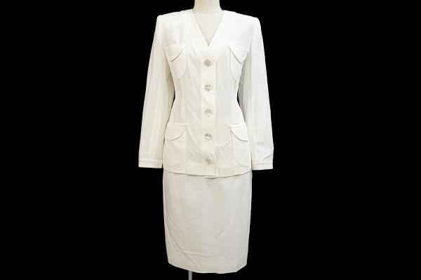 イヴサンローラン/綿ホワイトスカートスーツ