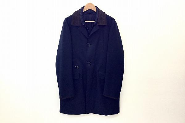 ブリオーニ/レザー使いコート