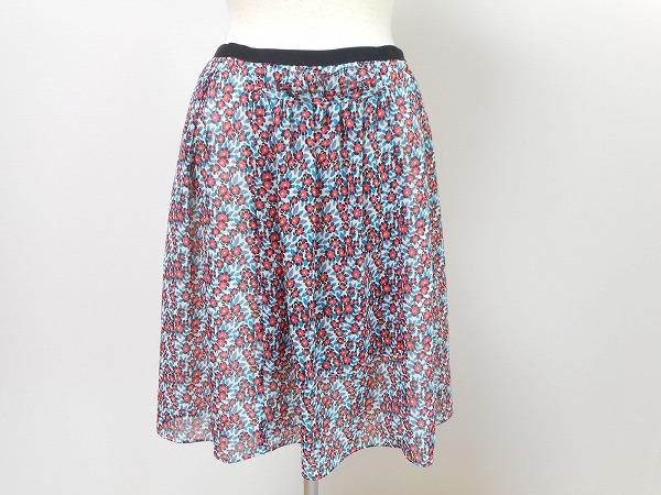 ナネットレポー 花柄膝丈スカート