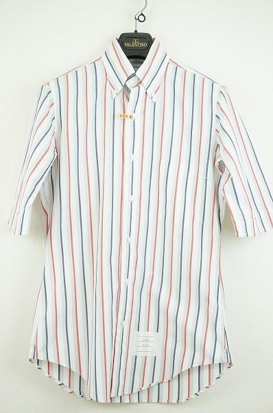 トムブラウン ストライプ半袖シャツ