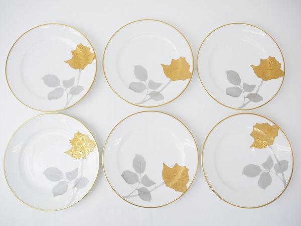 大倉陶園 ゴールド 花柄 ケーキ皿 プレート 6枚セット
