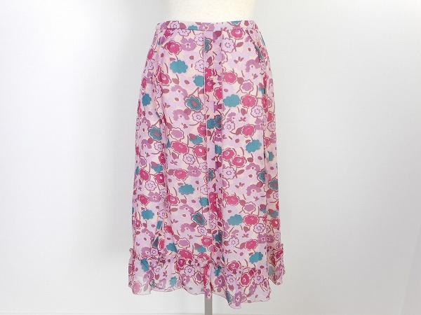 ユキトリイ 花柄スカート シルク