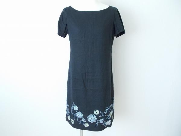 ジュンコシマダ 刺繍麻半袖ワンピース