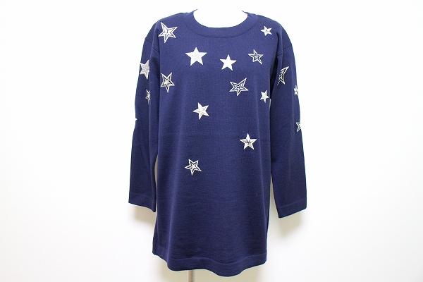 エスカーダ 長袖刺繍ウールセーター