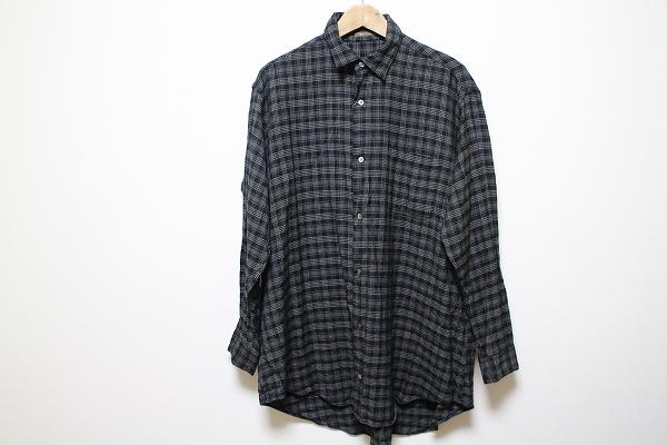 ワイズフォーメン ウール混チェックシャツ