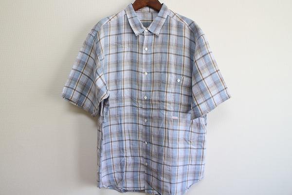 パパス リネンチェック半袖シャツ