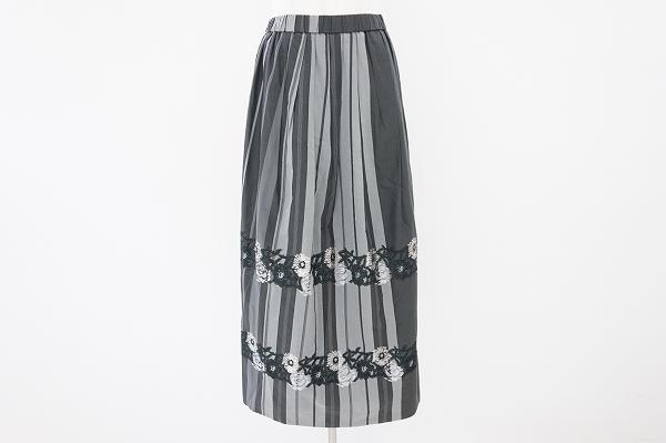 ジウセンソユニコ 刺繍ストライプロングスカート