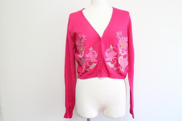 シズカコムロ4298 ピンク ショート丈刺繍ボレロ