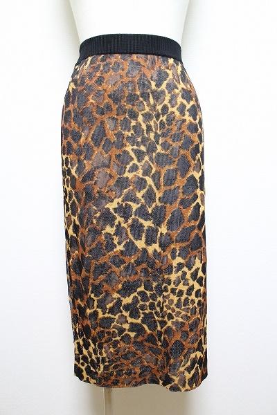 伊太利屋 レオパード柄ストレッチロングスカート