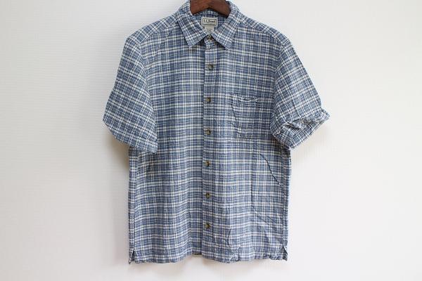 エルエルビーン 綿麻チェック半袖シャツ