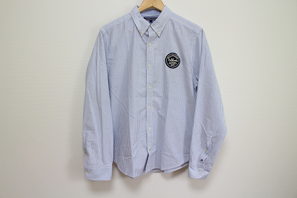 トミーヒルフィガー 刺繍ストライプ長袖シャツ