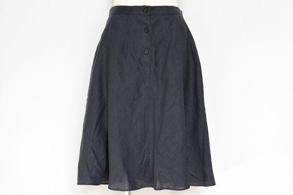 マーガレットハウエル フロントボタン麻フレアスカート