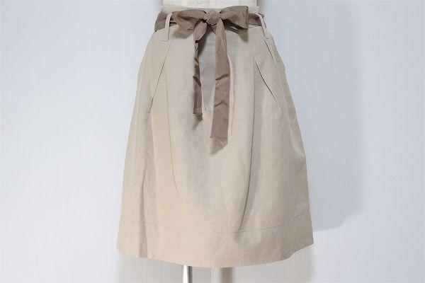 エポカ ウエストベルトリボン膝丈台形スカート