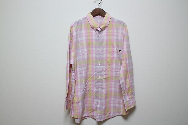 パパス ボタンダウンチェックワイシャツ