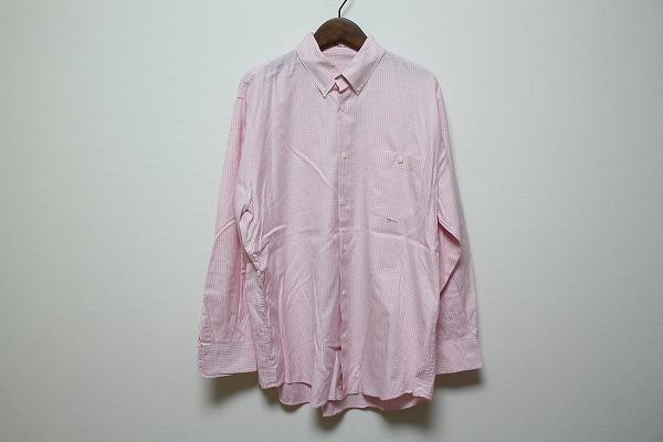 パパス 長袖ボタンダウンチェックシャツ
