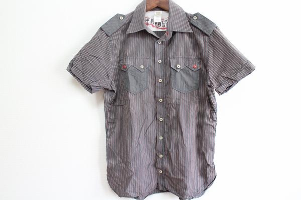 ディーゼル 半袖刺繍ストライプシャツ