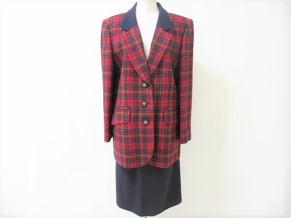 レリアン チェックジャケットスカートスーツ