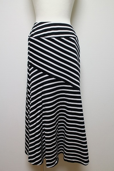 シープラス 斜めストライプマキシ丈スカート