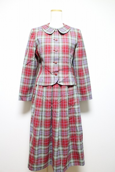 ヨークランド チェック柄丸襟スカートスーツ