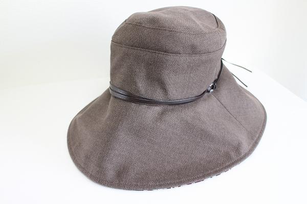 レリアン レザー装飾コットンゴム付き帽子