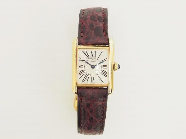 カルティエ レザーベルトレクタンギュラー腕時計
