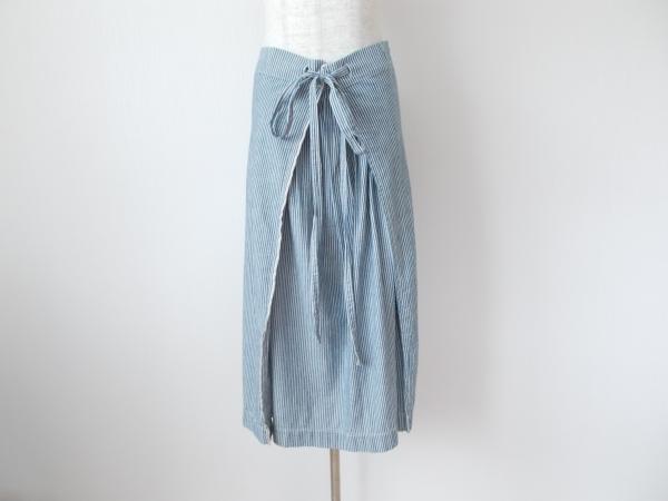 サロン ひも付きラップ風ストライプスカート