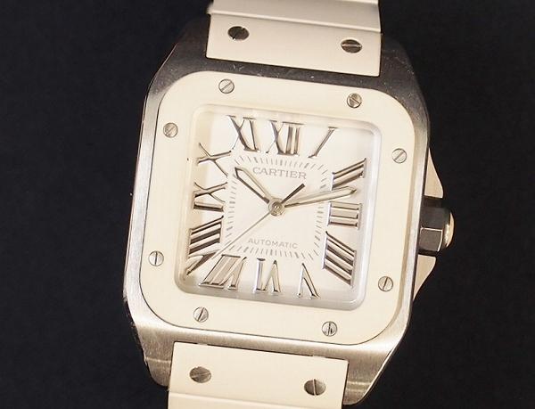 カルティエ サントス100ラバーバンドクッション腕時計