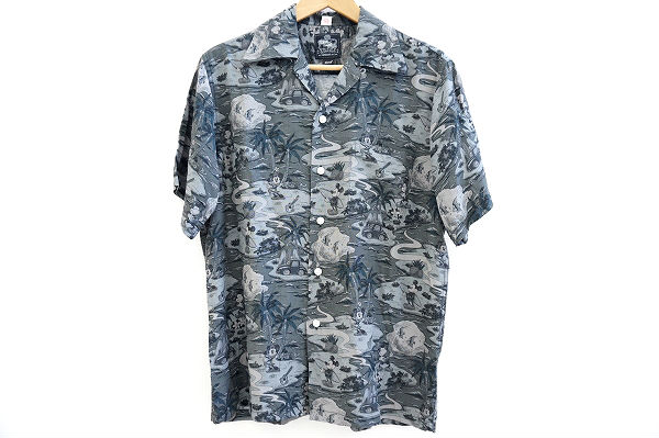 コナベイハワイ×グラム ミッキーマウスプリントランドオブアロハシャツ