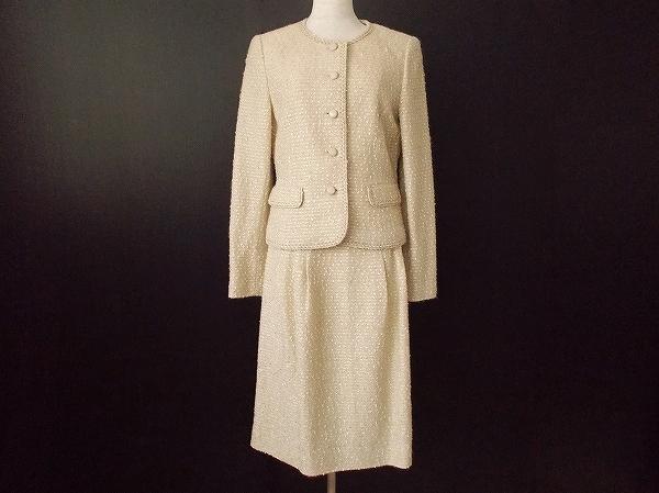 レリアン ノーカラースカートスーツ