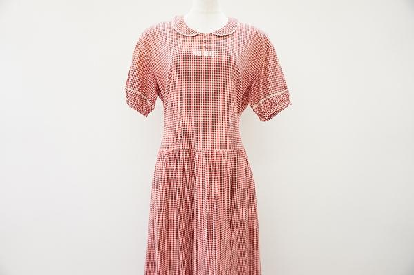 ピンクハウス 丸襟半袖チェック柄ワンピース
