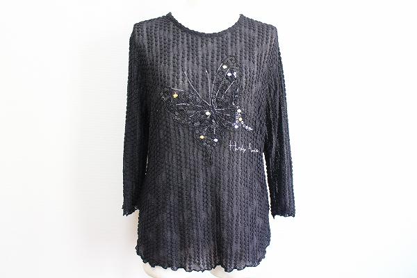 ハーディエイミス 蝶刺繍レーススパンコールドットトップス