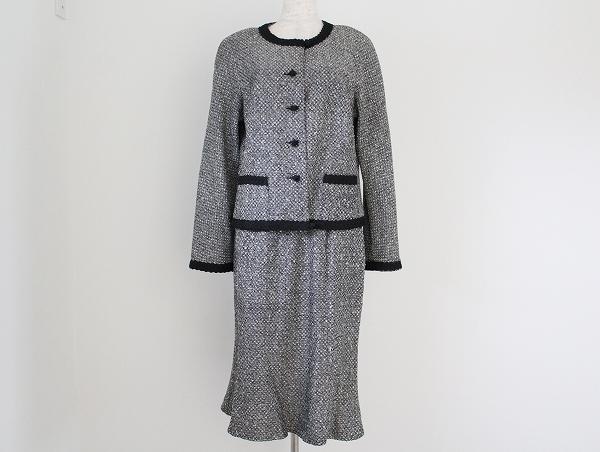 タルボット ノーカラーツイードスカートスーツ