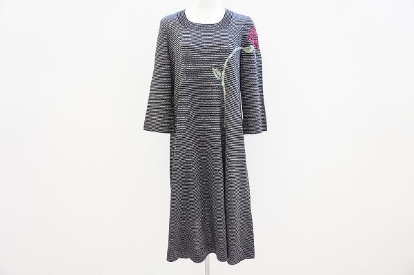 サイトウトヨコ ボーダーラメ長袖ワンピース