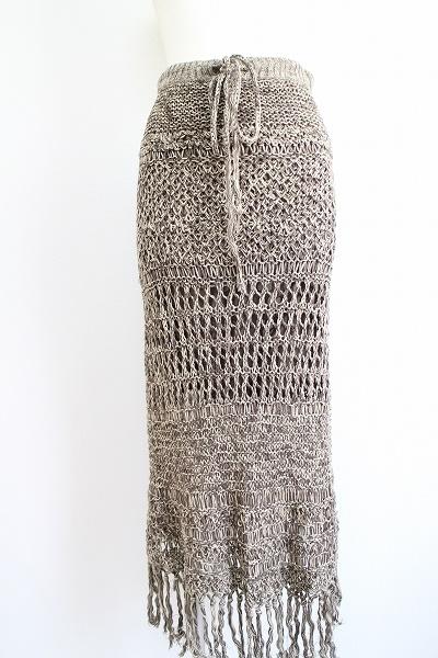 ゴア 麻綿カギ編みマキシスカート