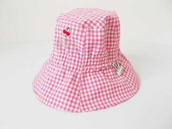 ミエコウエサコ チェック柄サクランボ帽子
