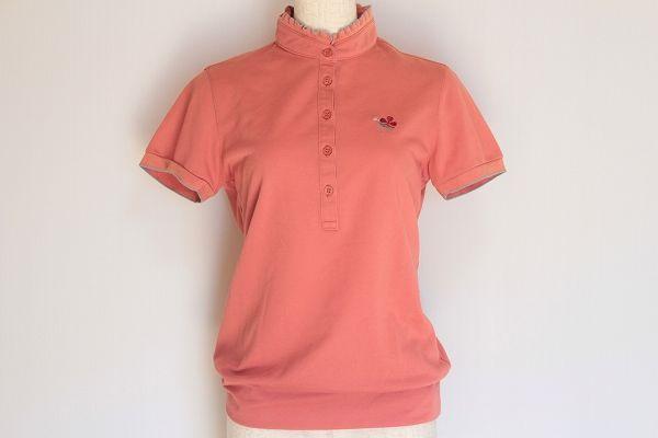 アダバットスマートピンク 半袖襟フリルポロシャツ