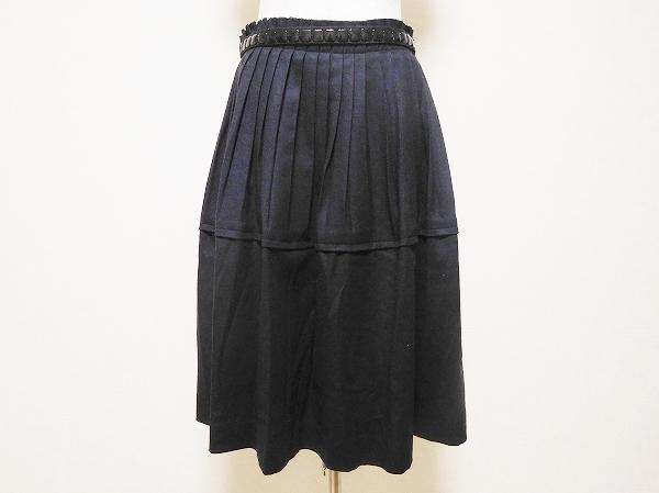 ユキトリイ ベルト付きプリーツスカート