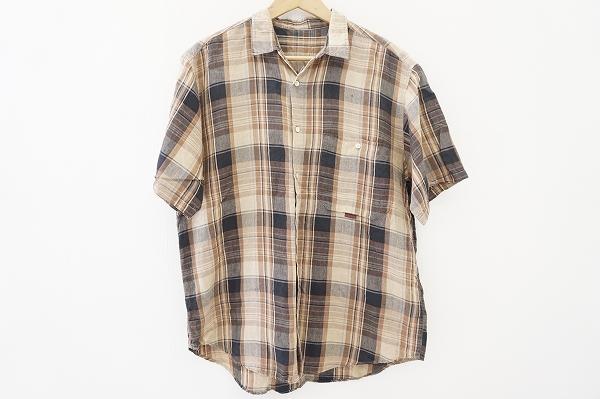 パパス チェック麻半袖シャツ