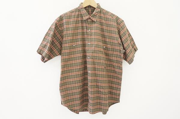 パパス オレンジ チェック半袖シャツ
