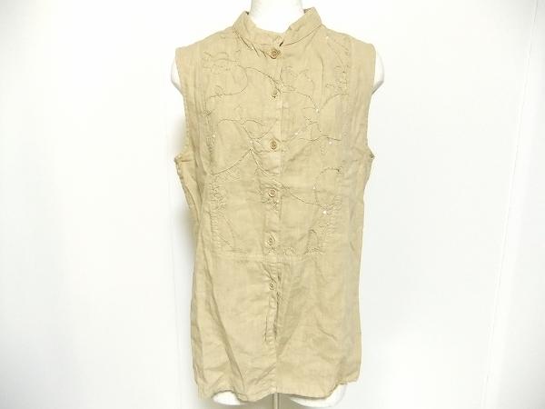エトロ ノースリーブスパンコール刺繍麻ブラウス