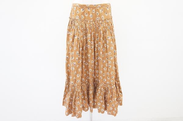 ピンクハウス スカーフ付きドット花柄フレアスカート