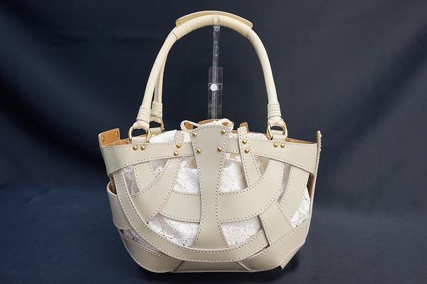エポカ レザー編みハンドバッグ