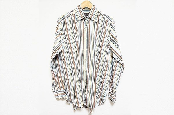 エトロ シルク混ストライプ長袖シャツ