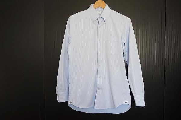 ビームスハート ストライプボタンダウン長袖ワイシャツ