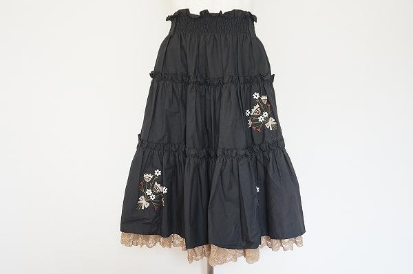ロイスクレヨン 刺繍裾レーススカート