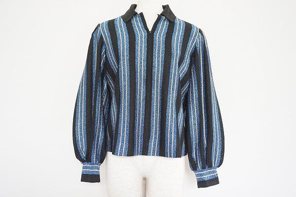 サイトウトヨコ ジップアップストライプセーター