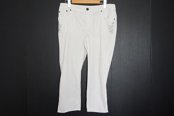 スキャパ 刺繍麻混パンツ